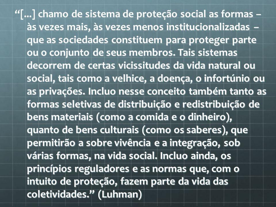 [...] chamo de sistema de proteção social as formas – às vezes mais, às vezes menos institucionalizadas – que as sociedades constituem para proteger parte ou o conjunto de seus membros.